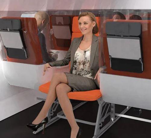 asientos de un avión invertidos