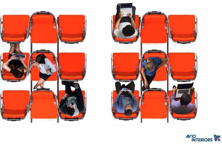 asientos de un avion inversos